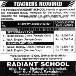 Facutly Jobs in RADIANT SCHOOL – Islamabad
