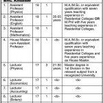 Jobs in Balochistan Residential Colleges Khuzdar Pakistan 2011
