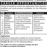 School Of Excellence Sukkur Jobs