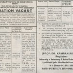 Govt Jobs In UVAS Lahore Punjab Pakistan 2011