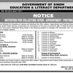Faculty Required At Education And Literacy Department