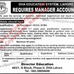 DHA Education System Jobs, Manager Accounts