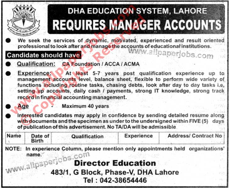 Dha Education System Jobs Manager Accounts