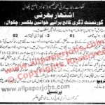 Govt Degree College Women Chakwal  Education Dept Jobs, Lab Attendant