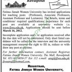 Fatima Jinnah Women University Rawalpindi Jobs 2012