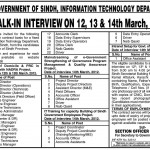 Government of Sindh Information Technology Department Jobs