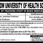 Jobs for Professors in Dow University of Health Sciences