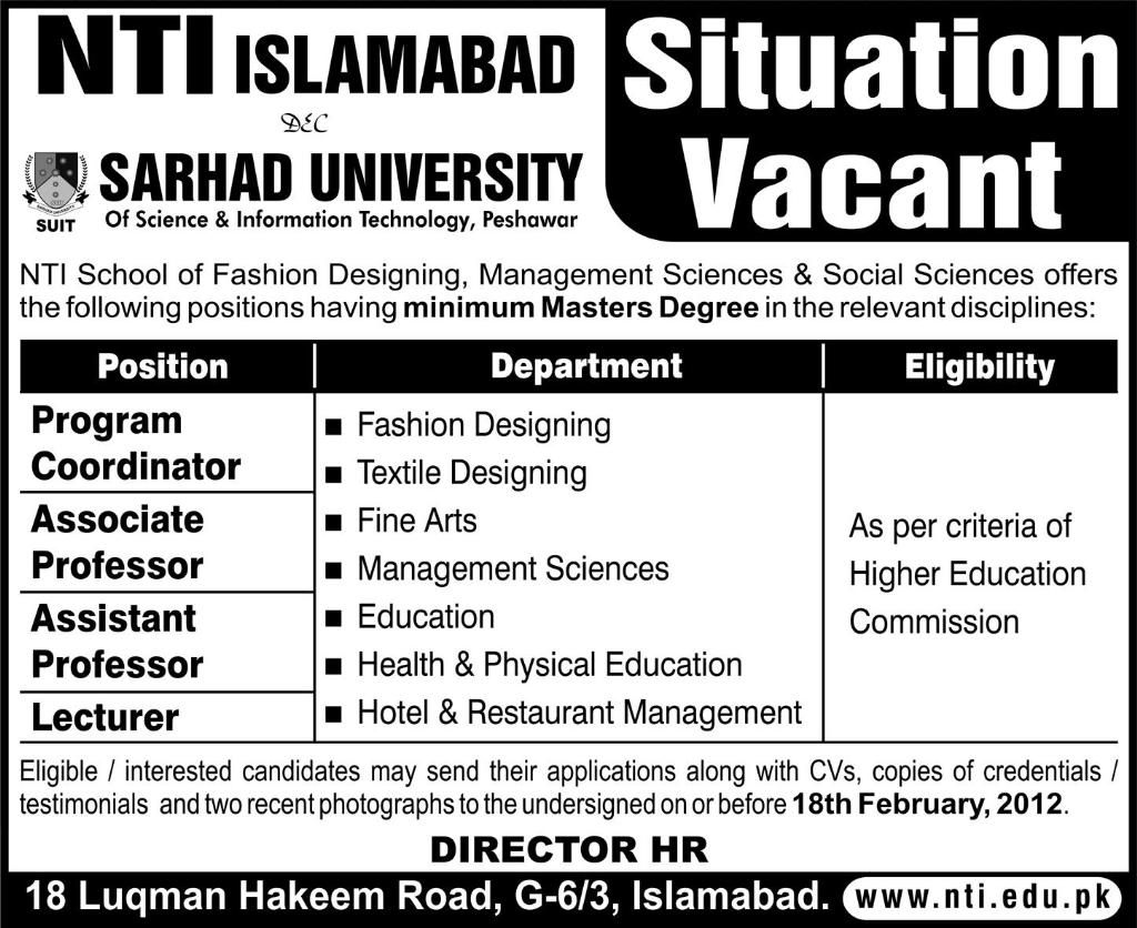 Jobs in Sarhad University Teaching Staff