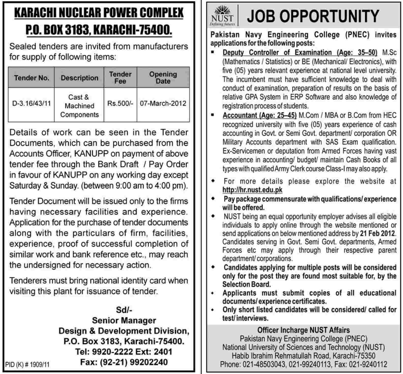 NUST, Pakistan Navy Engineering College (PNEC) Karachi Jobs