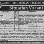 Jobs In Akram Khan Durrani College For Vice Principal And Teachers