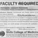 Professor And Associate Professor Required In Shifa College of Medicine Islamabad
