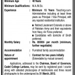 Vice principal Jobs in Cadet College Larkana 2012