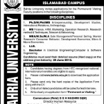 Bahria University Islamabad  Jobs 2012