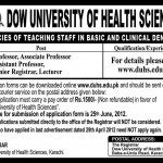 DOW University of Health Sciences Karachi Jobs 2012