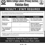 Teacher Required In Bahria College Pakistan Navy Lahore