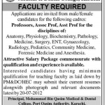 Faculty Required In Mohammad Bin Qasim, Medical And Dental College, Karachi