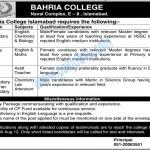 Bahria College Islamabad Jobs