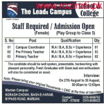 Coordinator & Teachers Staff Required At The Lead Campus