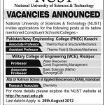 Teaching Staff Required Jobs In NUST University 2012