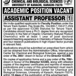 Assistant Professor Required At University of Karachi
