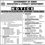 Government of Sindh Education And Literacy Department Jobs