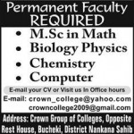 Jobs In Crown Group of Colleges, Nankana Sahib 2012
