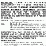 Senior Headmaster & Deputy District Education Officer Male & Female Jobs in Govt. Schools