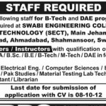 Staff Required  At Swabi Engineering College of Technology