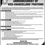 Vice Chancellors Required In KPK 2012