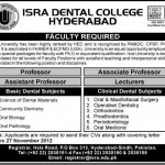 Faculty Required At Isra Dental College Hyderabad