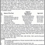 University of Engineering And Technology Taxila Jobs 2012