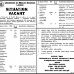 University of Health Sciences Lahore Jobs 2012