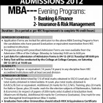 University of The Punjab Admission Open 2012