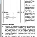 Cadet College – Panjgur Balochistan Jobs