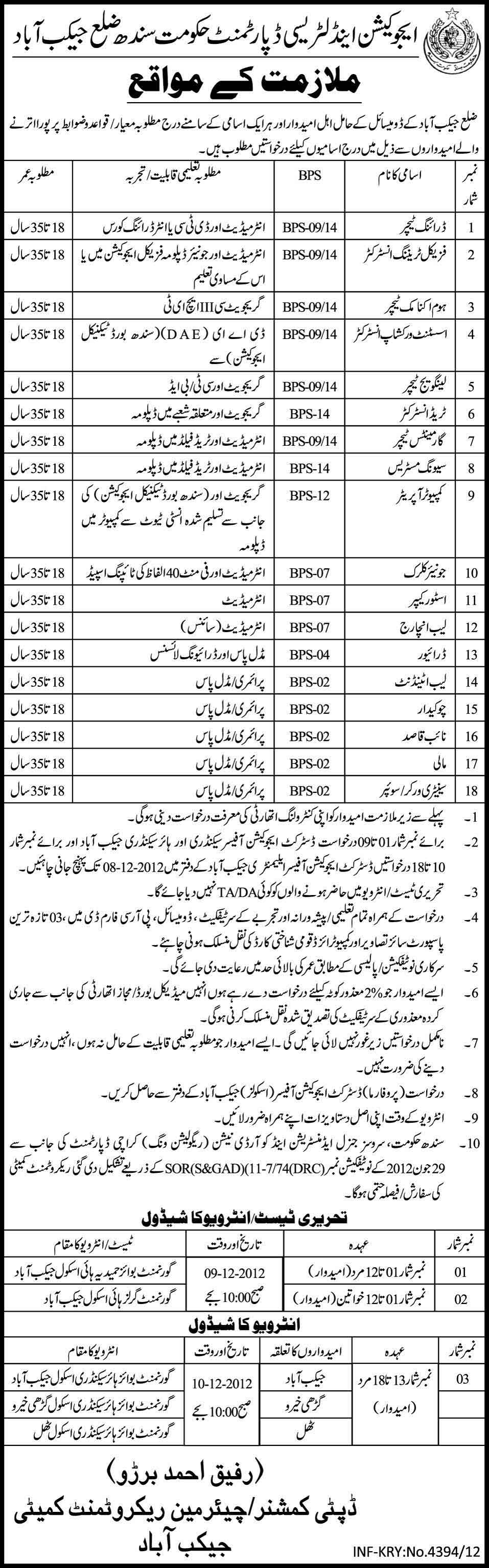 Education And Literacy Department Sindh Government Teaching Jobs