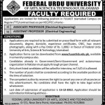 Professors Federal Urdu University Islamabad Jobs