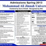 Mohammad Ali Jinnah University Admissions 2013