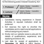 Professors And Lecturer Jobs In International Islamic University