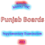Punjab Boards Matric SSC Supply Result 2012