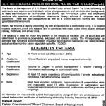 Staff Required H.H Sheikh Khalifa Public School Rahim Yar Khan