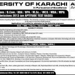 University of Karachi Admissions 2013