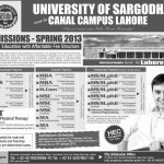 University of Sargodha  Admissions 2013 – Lahore Campus