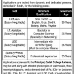 Cadet College Larkana Jobs 2013
