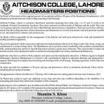 Headmaster Required At Aitchison College Lahore 2013