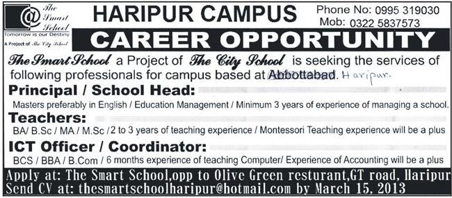 staff required   smart school haripur