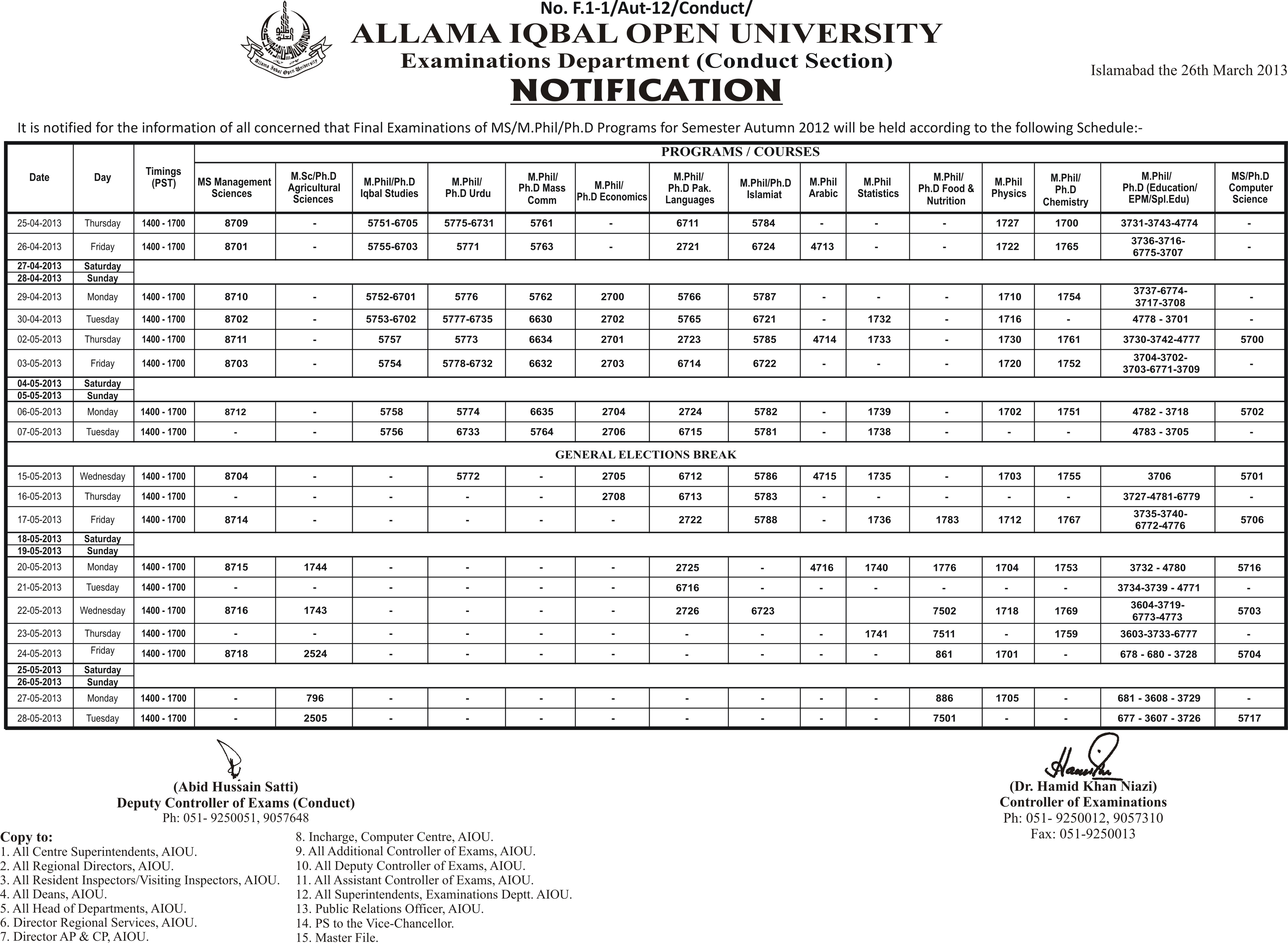 AIOU Datesheet  MS/M.Phil/Ph.D Programs