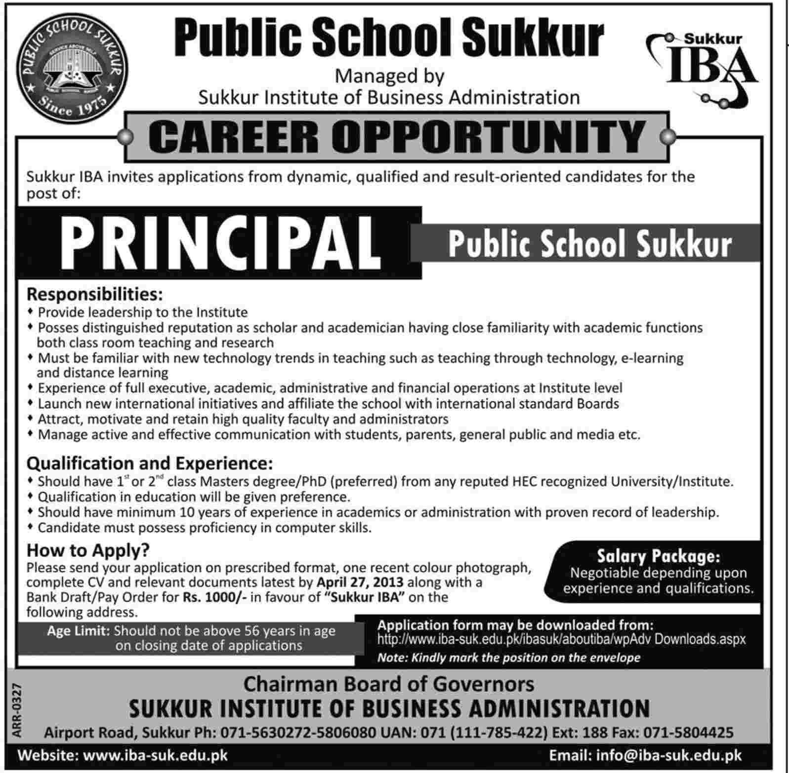 Principal Career Opportunity At Sukkur Iba