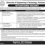 Professors And Lecturer Situation Vacant At University of Engineering & Technology Peshawar