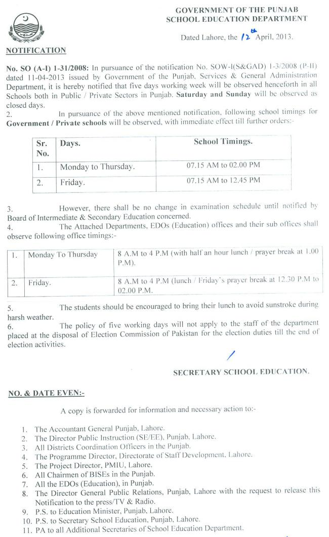Punjab Govt Notification Two Holidays For Schools And Office