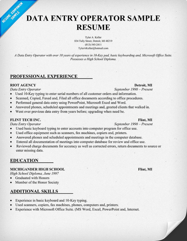 resume for data entry jobs